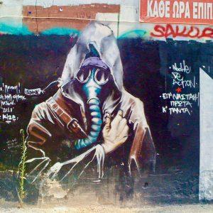 Foto: graffiti in Exarchia. Bericht: De diversiteit van de Atheense graffiti. www.andergriekenland.nl